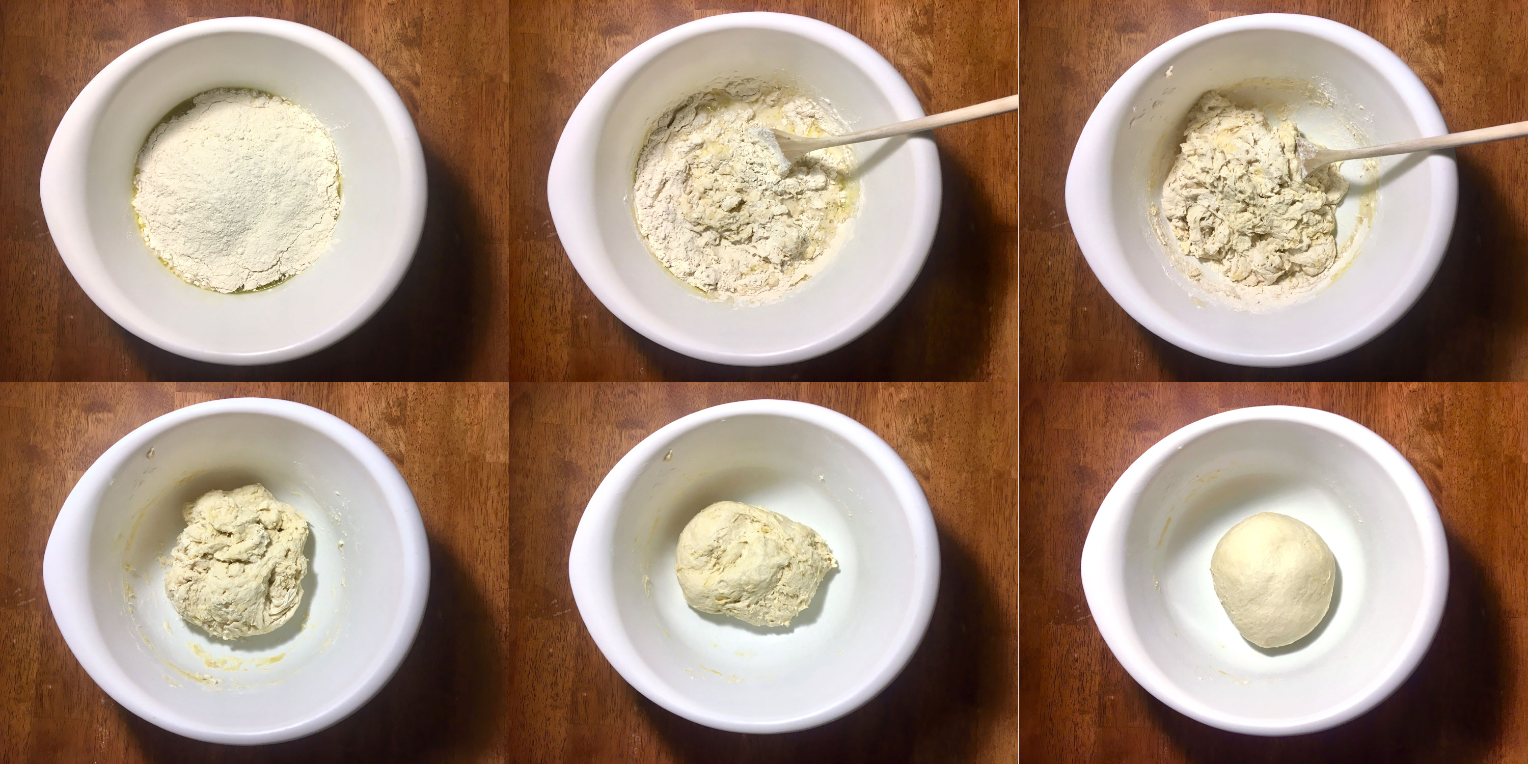 Mixing wet and dry ingredients in pizza dough