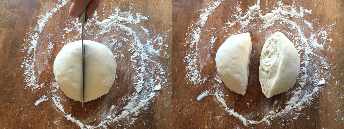 Dividing pizza dough into individual portions